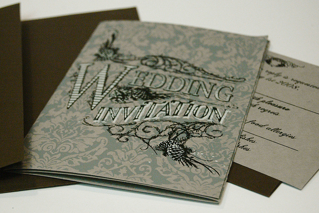 Gate Fold Invitation & RSVP with corresponding envelopes