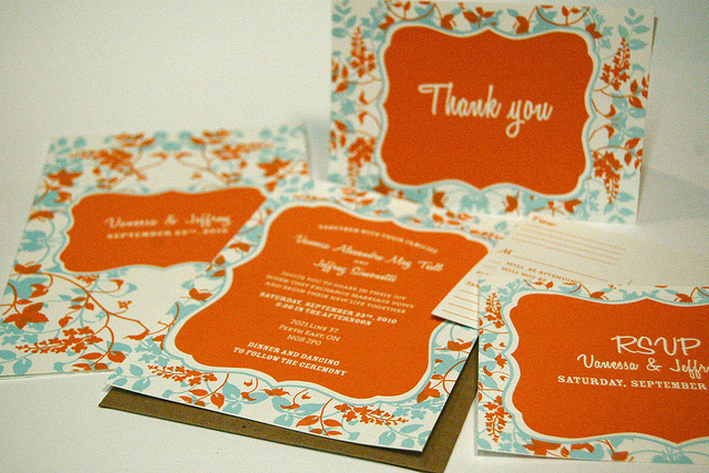 Postcard Invite, RSVP, Thank You and Program Book with Kraft envelopes
