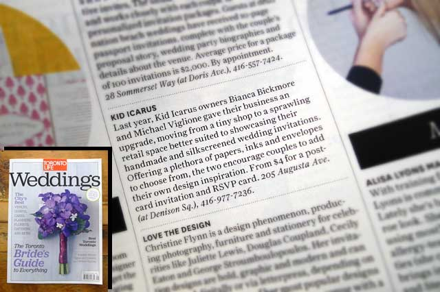 Kid Icarus in Toronto Life Weddings Magazine 2012