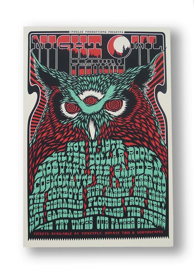 Posters for Night Owl Festival