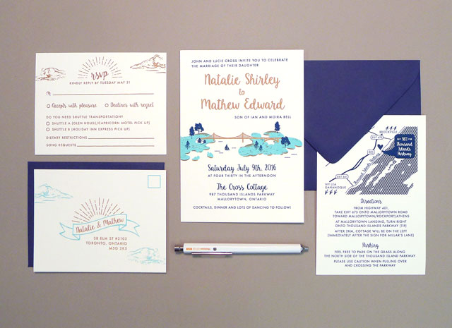 Hand Printed Wedding Invitations