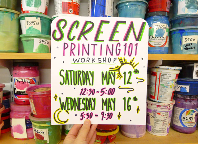 Screen Printing Workshops for May