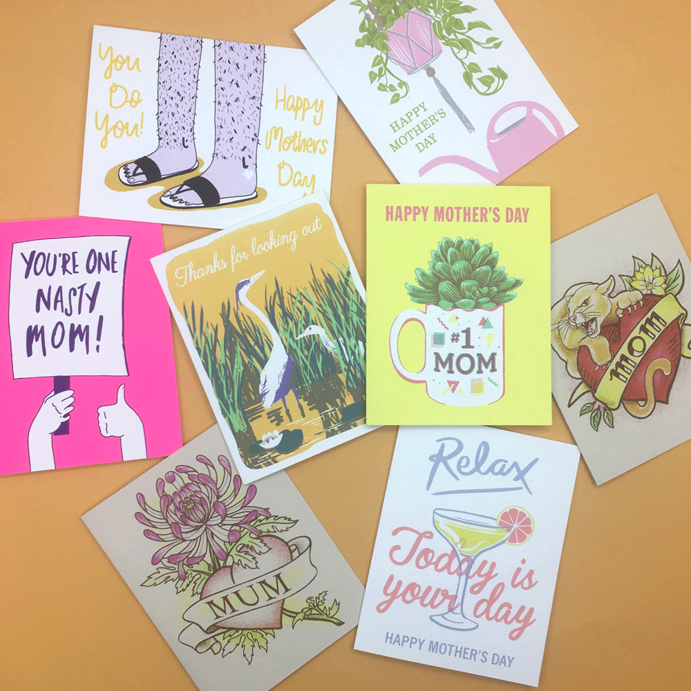 Mother's Day hand printed cards